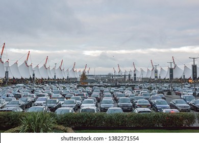 Ashford, Kent, England, January 1st, 2019, A view of parking facilities at the shopping outlet at Ashford