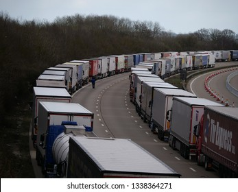 Ashford, Kent / UK - 13 March 2018. Police initiate operation stack on the M20 motorway between J8-J9 due to delays at Dover Port during Storm Gareth.