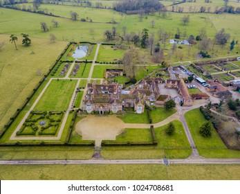 ASHFORD, KENT, UK- JANUARY 30 2018: Aerial view of Godinton House & Gardens, Kent, UK