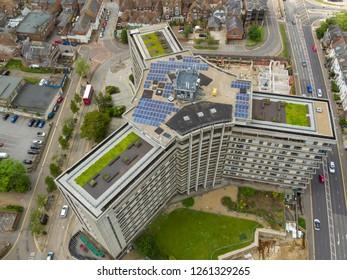 Ashford, Kent / UK -June 03 2018: Aerial view of the Panorama building, located in Ashford, Kent