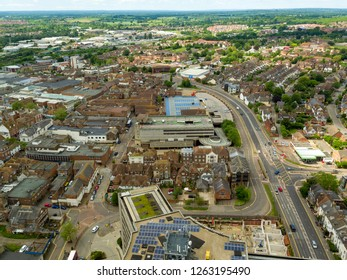 Ashford, Kent / UK - June 03 2018: Aerial views of Ashford town, located in Kent in the South East of England.