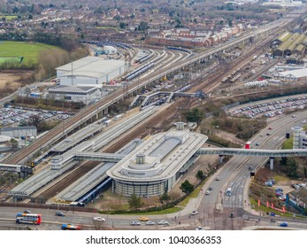 Ashford, Kent/ UK- March 06 2018: An aerial view of Ashford International train station, Ashford, Kent, UK