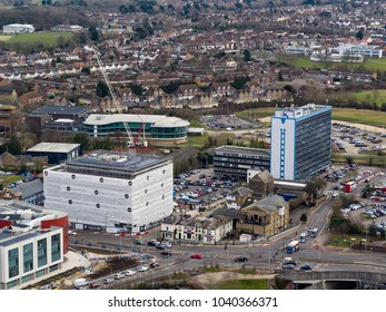 Ashford, Kent/ UK- March 06 2018: An aerial view of Ashford towns commercial quarter, Kent, UK