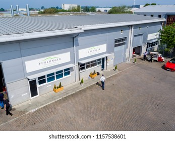 ASHFORD, KENT / UK - MAY 22 2018: Aerial view of Furlonger Specialist Cars of Ashford, Kent, UK