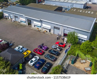 ASHFORD, KENT / UK - MAY 22 2018: Supercars gather at Simon Furlonger Cars of Ashford for a meeting, before cruising to the Hythe Imperial Hotel, Kent.