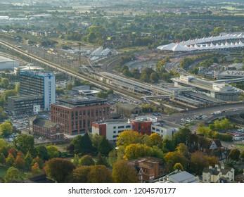 Ashford, Kent / UK- October 08 2018: Aerial view of Ashford, kent
