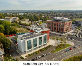 Ashford, Kent / UK- October 08 2018: Aerial View of Ashford College, Kent, UK