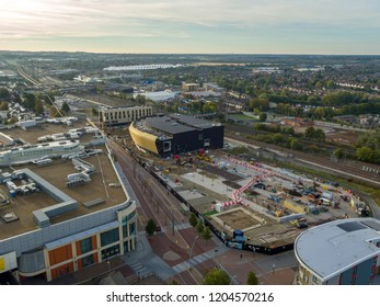 Ashford, Kent / UK- October 08 2018: Aerial view of Elwick Place picture house & Hotel development in Ashford, Kent