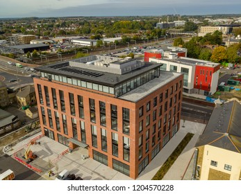 Ashford, Kent / UK- October 08 2018: Aerial view of Ashford commercial quarter and Connect 38 office building in Ashford, Kent