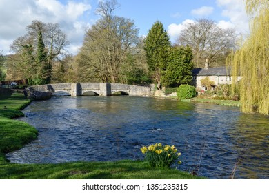 Ashford in the Water, Derbyshire, March 24th 2019. UK.Picturesque Ashford in the Water's much-photographed medieval Sheepwash Bridge and stone cottages.
