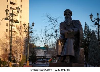 "Ashgabat, Turkmenistan. 13 January 2019, ""Ylham"" (enlightenment) Alley, statue of Turkmen National Writer and Poet"