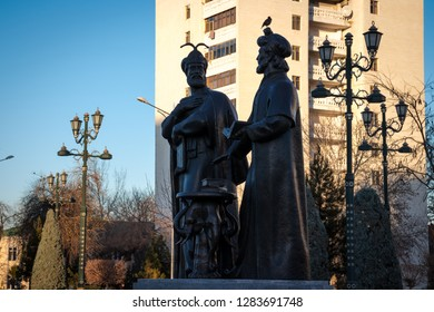 """Ashgabat, Turkmenistan. 13 January 2019, """"Ylham"""" (enlightenment) Alley, statues of Turkmen National Writers and Poets"""