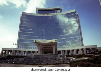 "Ashgabat, Turkmenistan. 26 January 2019.  Modern five star hotel ""Oguzkent"" in a daylight."