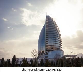 "Ashgabat, Turkmenistan. 26 January 2019. Modern five star hotel ""Yyldyz"" in a daylight."