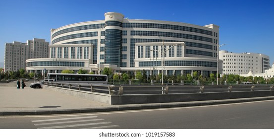 ASHGABAT, TURKMENISTAN, April 19, 2017.  Modern architecture of Ashgabat.  View on the  new building. ASHGABAT, TURKMENISTAN, April 19, 2017.