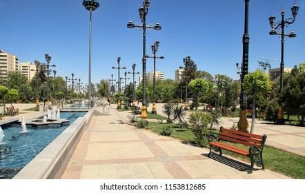 ASHGABAT, TURKMENISTAN, April 28, 2017. View of the park area in the center of Ashgabat. ASHGABAT, TURKMENISTAN, April 28, 2017.