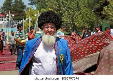Ashgabat, Turkmenistan - August, 17 ,2017: Melon Festival in Turkmenistan. The oldest participants of the festival.  Melon Festival  spend every year.  Ashgabat, Turkmenistan , August, 17 ,2017