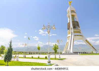 ASHGABAT TURKMENISTAN - CIRCA MAY 2016 - The Monument of Neutrality, perched on a hill above Ashgabat.