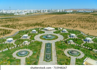 Ashgabat Turkmenistan city scape, skyline of beautiful architecture and parks in Ashgabat the capital city of Turkmenistan in Central Asia.