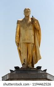 ASHGABAT, TURKMENISTAN  - JUNE 06, 2018: golden statue of former turkmen president   Turkmenbashi in Ashgabat, Turkmenistan