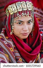 Ashgabat, Turkmenistan - March 10, 2013.  Portrait of  young  unidentified  Asian woman. Woman in traditional national dress. Ashgabat, Turkmenistan - March 10 2013.