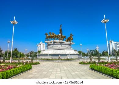 ASHGABAT, TURKMENISTAN - MAY 2017:  Famous Akhal Teke Horses Monument