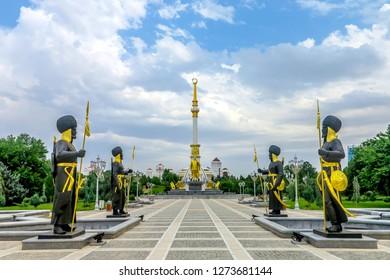ASHGABAT, TURKMENISTAN - MAY 2017: Independence Monument with President Saparmurat Niyazov Statue