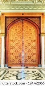 Ashgabat, Turkmenistan - October 06, 2015: Inside Turkmenbashi Ruhy Mosque, Ashgabat, Turkmenistan.