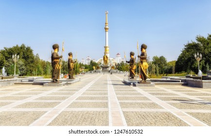 Ashgabat, Turkmenistan - October 06, 2015:The Independence Monument is a monument located in Ashgabat, Turkmenistan. The design of this building was inspired by traditional Turkmen tents.