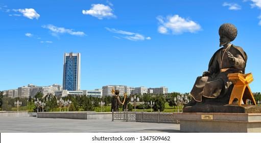 Ashgabat, Turkmenistan - October, 15 2014:  - Monuments to historical figures of Turkmenistan in the park. Ashkhabad, October, 15 2014. Turkmenistan.
