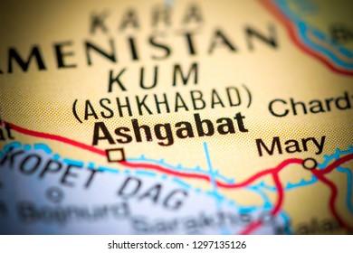 Ashgabat, Turkmenistan on a map
