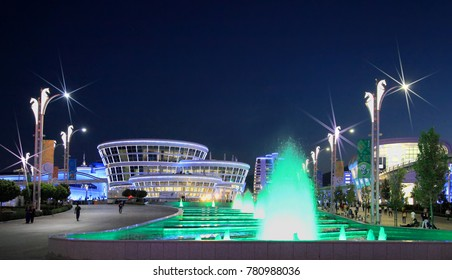 Ashgabat, Turkmenistan -  September 22, 2017: Night view of the sport town, which hosted 5 Asian Games.  Asian indoor games and martial arts, was held in Ashgabat,  Turkmenistan in 2017.