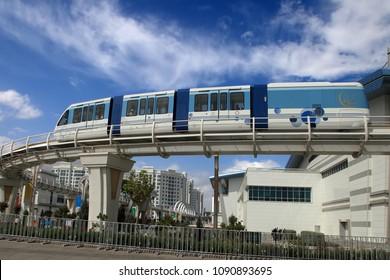 ASHGABAT, TURKMENISTAN, September 26, 2017:  Modern architecture of Ashgabat with  Monorail. Ashgabat is the capital of Turkmenistan. ASHGABAT, TURKMENISTAN, September 26, 2017.