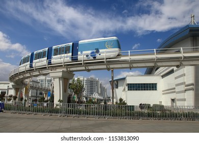 Ashgabat, Turkmenistan -  September 26, 2017:  Part of the sport complex, with  Monorail.  Asian indoor games and martial arts, was held in Ashgabat,  Turkmenistan in 2017.