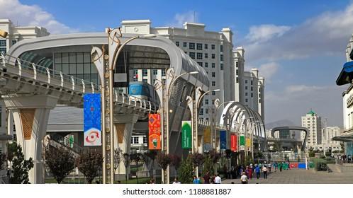 ASHGABAT, TURKMENISTAN, September 26, 2017:  Modern architecture of Ashgabat. One of the streets of Ashgabat. ASHGABAT, TURKMENISTAN, September 26, 2017.