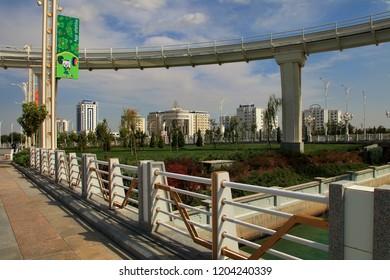 ASHGABAT, TURKMENISTAN, September 26, 2017:  Modern architecture of Ashgabat. Ashgabat is the capital of Turkmenistan. ASHGABAT, TURKMENISTAN, September 26, 2017.