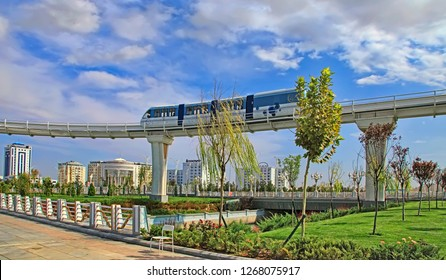 Ashgabat, Turkmenistan -  September 26, 2017:  Modern architecture of Ashgabat with Monorail. Ashgabat is the capital of Turkmenistan.
