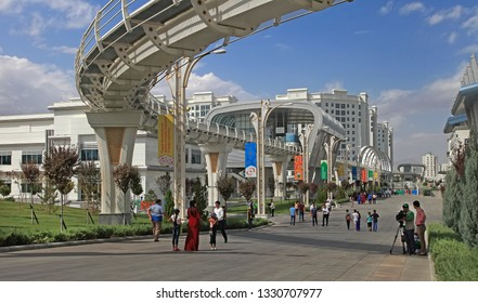 Ashgabat, Turkmenistan -  September 26, 2017:  Part of the sport complex, which hosted 5 Asian Games.  Asian indoor games and martial arts, was held in Ashgabat,  Turkmenistan in 2017.