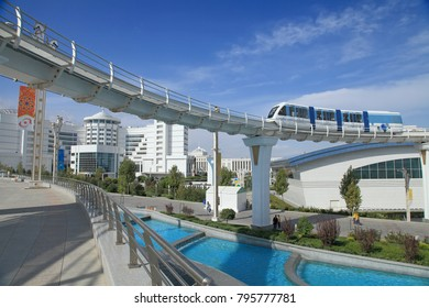 Ashgabat, Turkmenistan -  September 26, 2017:  Part of the sport complex, with  Monorail.  Asian indoor games and martial arts, was held in Ashgabat,  Turkmenistan in 2017. From 17 to September 27.