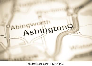 Ashington. United Kingdom on a geography map