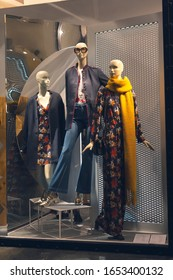 Ashion store in shopping mall, mannequins in a clothing store, winter sale
