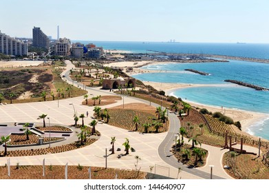 ASHKELON, ISR - JULY 27:Aerial view of Ashkelon on July 27 2009. Ashkelon is an ancient coastal city in the South District of Israel on the Mediterranean coast.