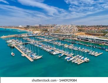 Ashkelon, Israel - 06-01-2018: A view of the Ashkelon marina