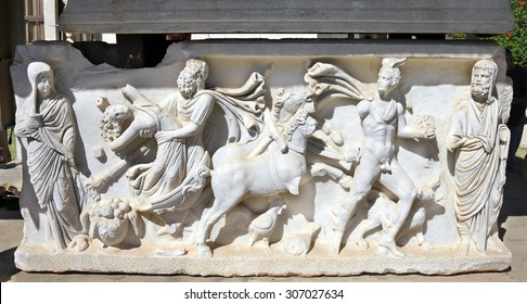 ASHKELON, ISRAEL - AUGUST 08, 2013: Abduction of  Persephone by Hades. Bas-relief on the sarcophagus of the 3rd century BC Archeological Museum in Ashkelon