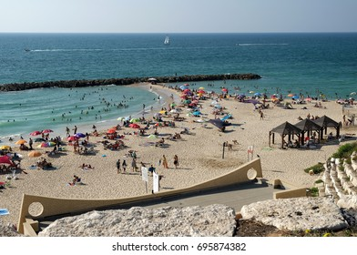 ASHKELON, ISRAEL - AUGUST 11, 2017: City beach in Ashkelon on the Mediterranean Sea