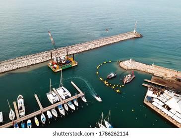 ASHKELON, ISRAEL - DECEMBER 09, 2017: Top view of the marina on the Mediterranean coast in Ashkelon