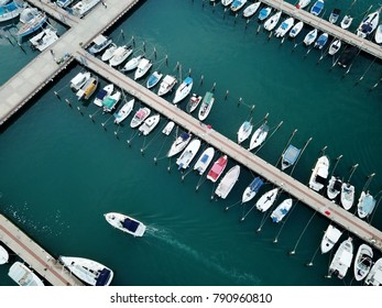 ASHKELON, ISRAEL - DECEMBER 09, 2017: Top view of the yacht club on the Mediterranean coast in Ashkelon