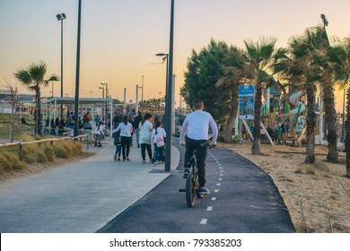 ASHKELON, ISRAEL - JANUARY 13, 2018: New Dlila Beach Park Kids Play Happy Skatepark