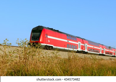 ASHKELON, ISRAEL- JUNE 06, 2016:Train on a rout Ashkelon-Ashdod.The current generation can be run at speeds up to 160 km/h (99.4 mph)and each coach can seat 100 to 150 passengers.