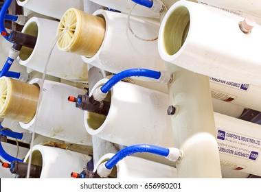 Ashkelon, Israel - MAY 24 2103: Reverse Osmosis water desalination plant - Membranes